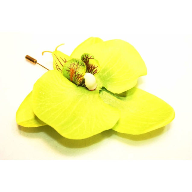 LIME GREEN ORCHID LAPEL PIN (9CM) - Elnukstyles | unique affordable men's Bow Ties, Knitted Neckties, Flower Lapel Pins, Pocket Squares, Tie Clips, Cufflinks, Brooch, Toronto