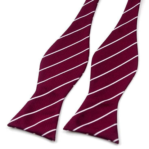 MAROON WITH WHITE STRIPED SELF-TIED BOW TIE - Elnukstyles | unique affordable men's Bow Ties, Knitted Neckties, Flower Lapel Pins, Pocket Squares, Tie Clips, Cufflinks, Brooch, Toronto