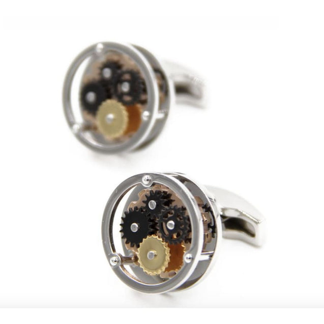 MECHANICAL GEAR  CUFFLINKS  - NEWTON IV - Elnukstyles | unique affordable men's Bow Ties, Knitted Neckties, Flower Lapel Pins, Pocket Squares, Tie Clips, Cufflinks, Brooch, Toronto