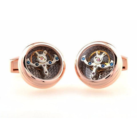 MECHANICAL MOVEMENT SKELETON ROSE GOLD TOURBILLION CUFFLINKS - NEWTON III - Elnukstyles | unique affordable men's Bow Ties, Knitted Neckties, Flower Lapel Pins, Pocket Squares, Tie Clips, Cufflinks, Brooch, Toronto