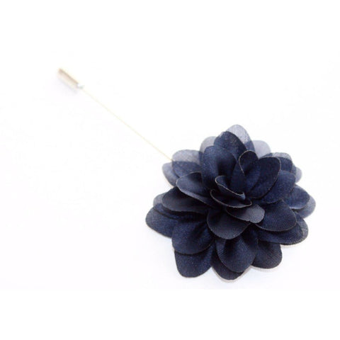 NAVY BLUE FLUFF LAPEL PIN - Elnukstyles | unique affordable men's Bow Ties, Knitted Neckties, Flower Lapel Pins, Pocket Squares, Tie Clips, Cufflinks, Brooch, Toronto