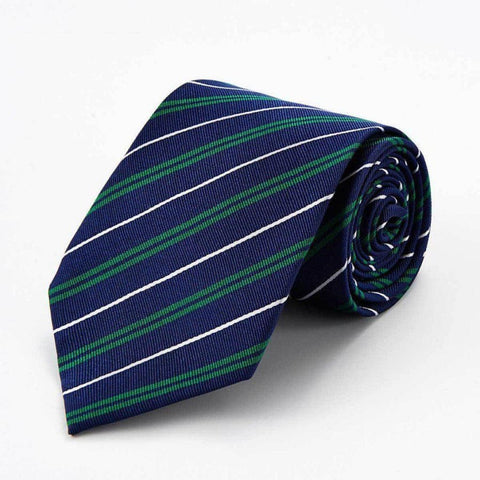 NAVY BLUE STRIPE WITH WHITE AND GREEN SILK TIE - Elnukstyles | unique affordable men's Bow Ties, Knitted Neckties, Flower Lapel Pins, Pocket Squares, Tie Clips, Cufflinks, Brooch, Toronto