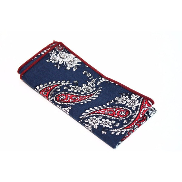 NAVY PAISLEY COTTON POCKET SQUARE - Elnukstyles | unique affordable men's Bow Ties, Knitted Neckties, Flower Lapel Pins, Pocket Squares, Tie Clips, Cufflinks, Brooch, Toronto