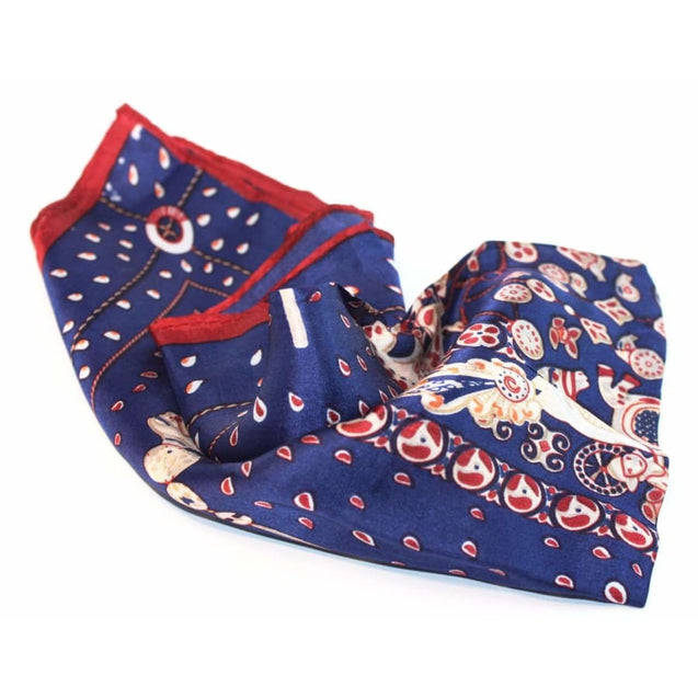 NAVY RED SILK POCKET SQUARE - Elnuk Styles Bows N Lapel