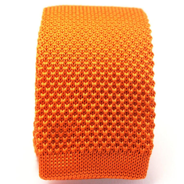 ORANGE KNITTED TIE - Elnukstyles | unique affordable men's Bow Ties, Knitted Neckties, Flower Lapel Pins, Pocket Squares, Tie Clips, Cufflinks, Brooch, Toronto