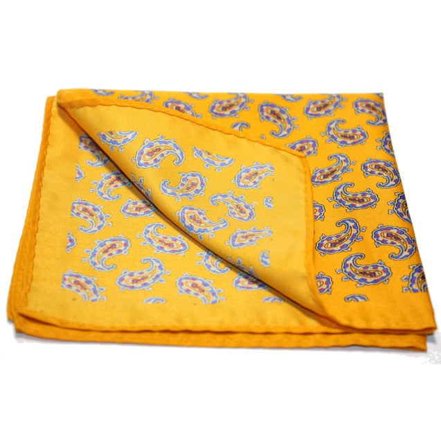 ORANGE PAISLEY POCKET SQUARES - Elnukstyles | unique affordable men's Bow Ties, Knitted Neckties, Flower Lapel Pins, Pocket Squares, Tie Clips, Cufflinks, Brooch, Toronto