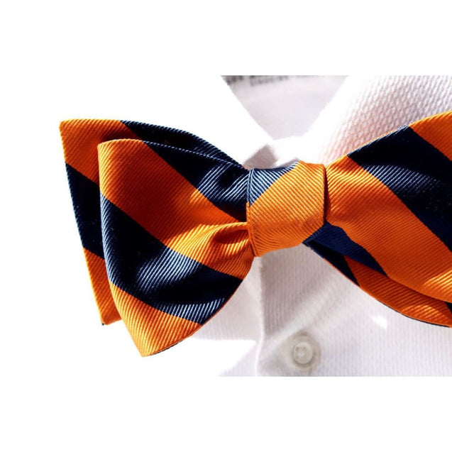 ORANGE WITH BLUE STRIPED SELF-TIED BOW TIE - Elnuk Styles Bows N Lapel