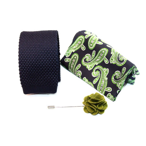 PAISLEY GREEN (KNITTED TIE, POCKET SQUARE, LAPEL PIN) - Elnukstyles | unique affordable men's Bow Ties, Knitted Neckties, Flower Lapel Pins, Pocket Squares, Tie Clips, Cufflinks, Brooch, Toronto