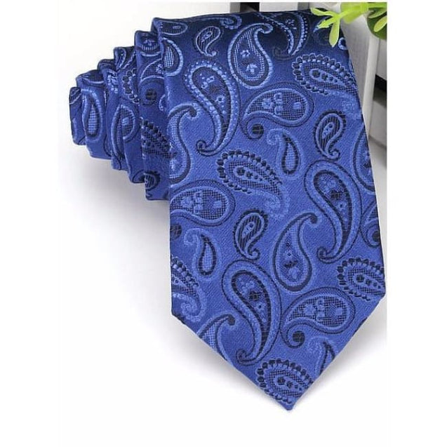 PAISLEY NAVY BLUE TIE - Elnukstyles | unique affordable men's Bow Ties, Knitted Neckties, Flower Lapel Pins, Pocket Squares, Tie Clips, Cufflinks, Brooch, Toronto