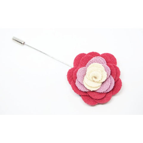 PINK AND WHITE CAMELLIA LAPEL PIN - Elnukstyles | unique affordable men's Bow Ties, Knitted Neckties, Flower Lapel Pins, Pocket Squares, Tie Clips, Cufflinks, Brooch, Toronto
