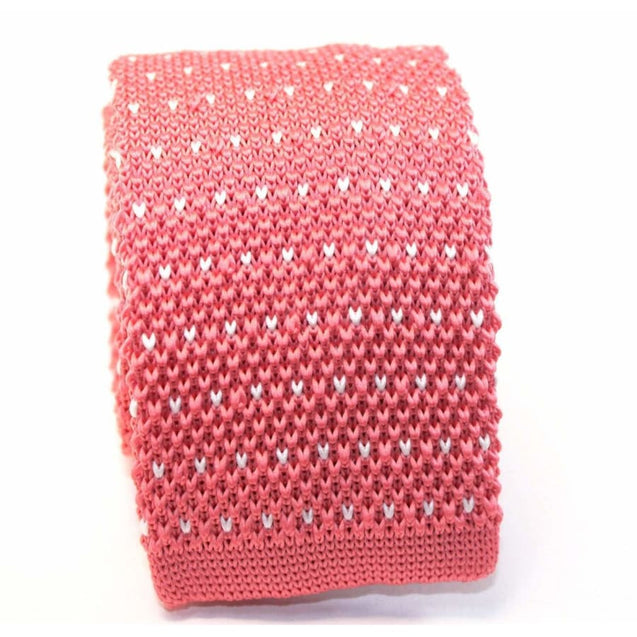 PINK DOT KNITTED TIE - Elnukstyles | unique affordable men's Bow Ties, Knitted Neckties, Flower Lapel Pins, Pocket Squares, Tie Clips, Cufflinks, Brooch, Toronto