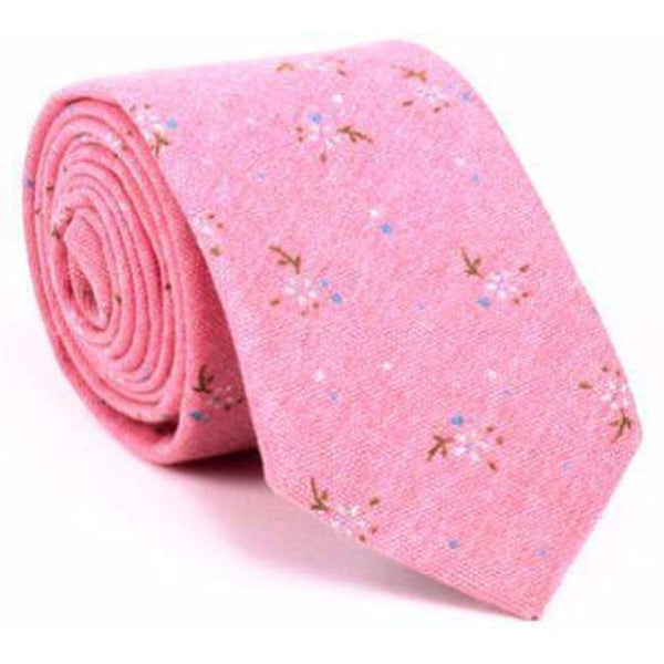 PINK FLORAL NECKTIE - Elnukstyles | unique affordable men's Bow Ties, Knitted Neckties, Flower Lapel Pins, Pocket Squares, Tie Clips, Cufflinks, Brooch, Toronto