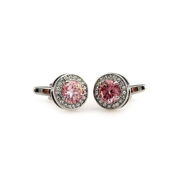 PINK STONES SILVER CUFFLINKS - Elnukstyles | unique affordable men's Bow Ties, Knitted Neckties, Flower Lapel Pins, Pocket Squares, Tie Clips, Cufflinks, Brooch, Toronto