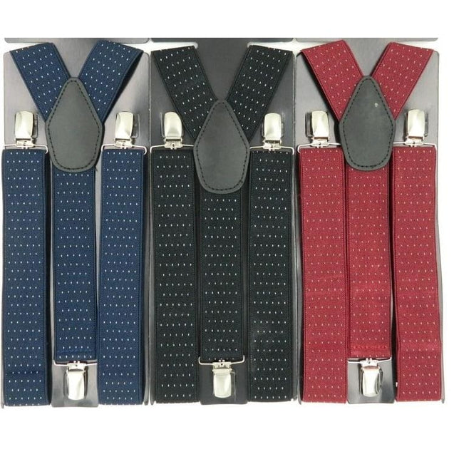 POLKA DOT SUSPENDERS (CLIP STYLES - Elnukstyles | unique affordable men's Bow Ties, Knitted Neckties, Flower Lapel Pins, Pocket Squares, Tie Clips, Cufflinks, Brooch, Toronto