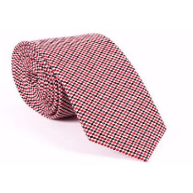RED CHECKERED  NECKTIE - Elnukstyles | unique affordable men's Bow Ties, Knitted Neckties, Flower Lapel Pins, Pocket Squares, Tie Clips, Cufflinks, Brooch, Toronto