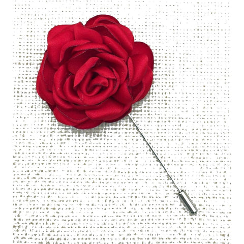 RED FLOWER LAPEL PIN - Elnukstyles | unique affordable men's Bow Ties, Knitted Neckties, Flower Lapel Pins, Pocket Squares, Tie Clips, Cufflinks, Brooch, Toronto