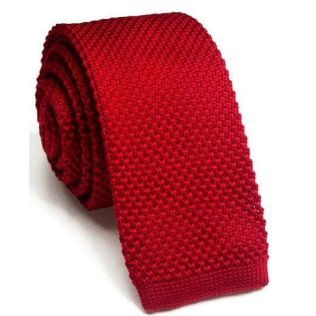 RED KNITTED TIE - Elnukstyles | unique affordable men's Bow Ties, Knitted Neckties, Flower Lapel Pins, Pocket Squares, Tie Clips, Cufflinks, Brooch, Toronto
