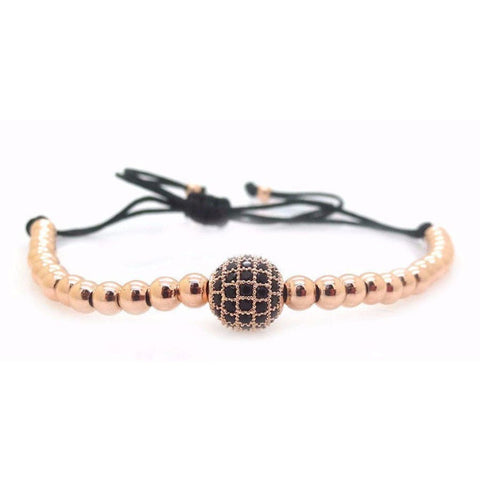 ROUND BEAD ROSE GOLD BRACELET (4mm) - Elnukstyles | unique affordable men's Bow Ties, Knitted Neckties, Flower Lapel Pins, Pocket Squares, Tie Clips, Cufflinks, Brooch, Toronto