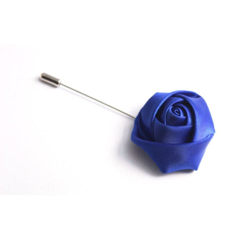 ROYAL BLUE SATIN FLOWER LAPEL PIN - Elnukstyles | unique affordable men's Bow Ties, Knitted Neckties, Flower Lapel Pins, Pocket Squares, Tie Clips, Cufflinks, Brooch, Toronto
