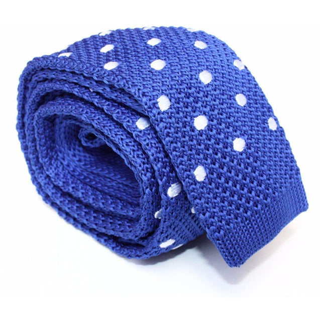 ROYAL BLUE WITH WHITE POLKA KNITTED TIE - Elnuk Styles Bows N Lapel