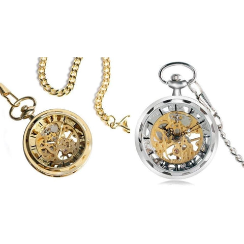 SKELETON VINTAGE POCKET WATCH (GOLD & SILVER) - Elnukstyles | unique affordable men's Bow Ties, Knitted Neckties, Flower Lapel Pins, Pocket Squares, Tie Clips, Cufflinks, Brooch, Toronto