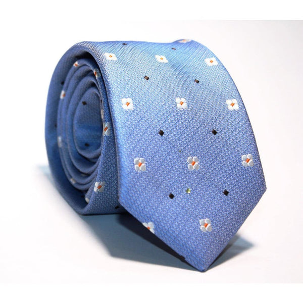 SKY BLUE FLOWERS NECKTIE - Elnukstyles | unique affordable men's Bow Ties, Knitted Neckties, Flower Lapel Pins, Pocket Squares, Tie Clips, Cufflinks, Brooch, Toronto
