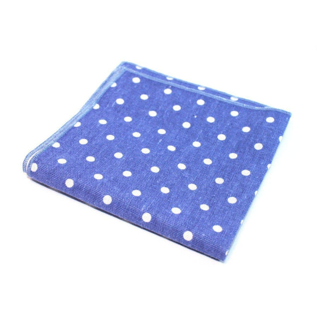 SOFT BLUE POLKA POCKET SQUARE - Elnukstyles | unique affordable men's Bow Ties, Knitted Neckties, Flower Lapel Pins, Pocket Squares, Tie Clips, Cufflinks, Brooch, Toronto