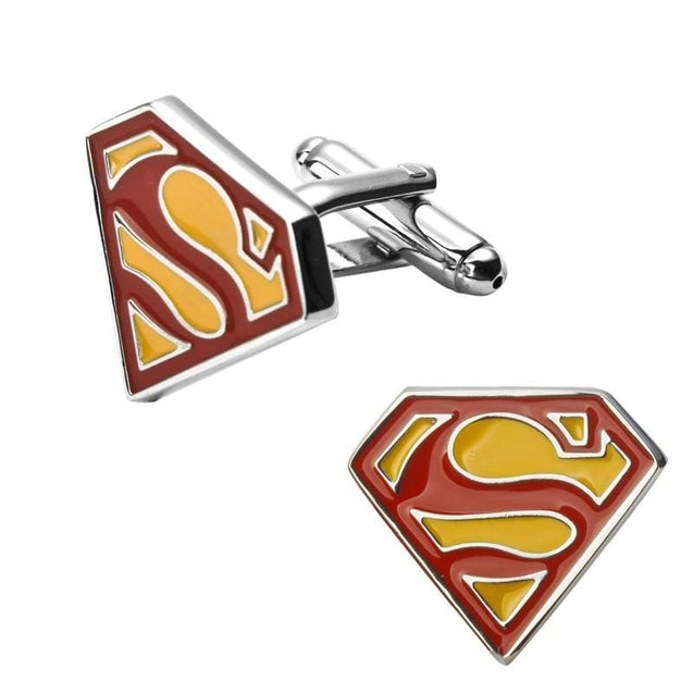 SUPER MAN CUFFLINKS - Elnukstyles | unique affordable men's Bow Ties, Knitted Neckties, Flower Lapel Pins, Pocket Squares, Tie Clips, Cufflinks, Brooch, Toronto