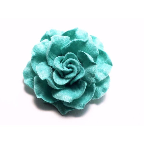 TURQUOISE FLOWER LAPEL PIN (LARGE) - Elnukstyles | unique affordable men's Bow Ties, Knitted Neckties, Flower Lapel Pins, Pocket Squares, Tie Clips, Cufflinks, Brooch, Toronto