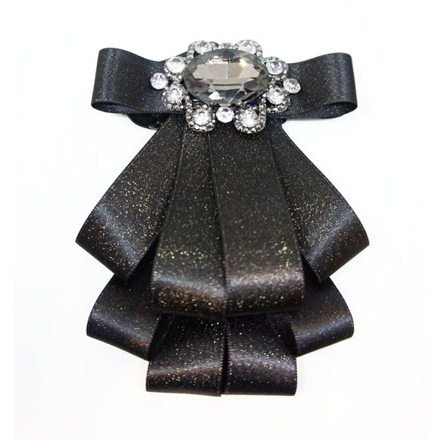 VINTAGE RHINESTONE RIBBON SATIN BOW TIE - Elnukstyles | unique affordable men's Bow Ties, Knitted Neckties, Flower Lapel Pins, Pocket Squares, Tie Clips, Cufflinks, Brooch, Toronto
