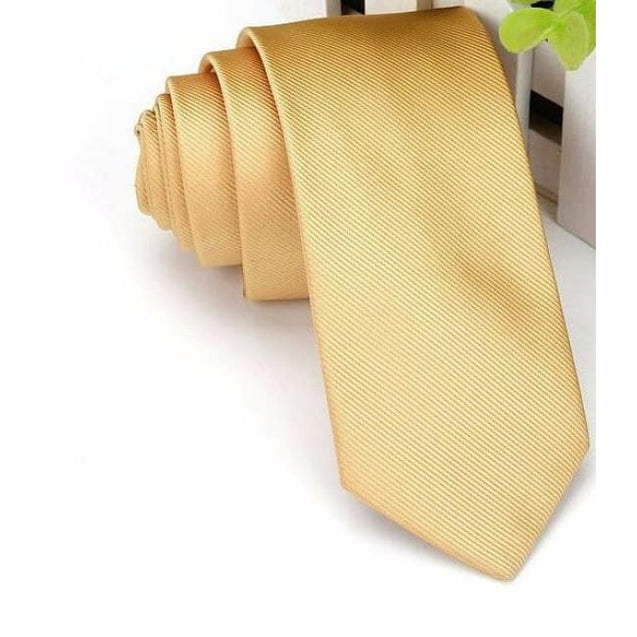 WEDDING - GOLD NECKTIE (6CM) - Elnukstyles | unique affordable men's Bow Ties, Knitted Neckties, Flower Lapel Pins, Pocket Squares, Tie Clips, Cufflinks, Brooch, Toronto