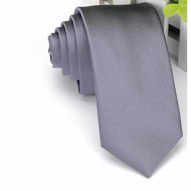 WEDDING - GRAY NECKTIE (6CM) - Elnukstyles | unique affordable men's Bow Ties, Knitted Neckties, Flower Lapel Pins, Pocket Squares, Tie Clips, Cufflinks, Brooch, Toronto