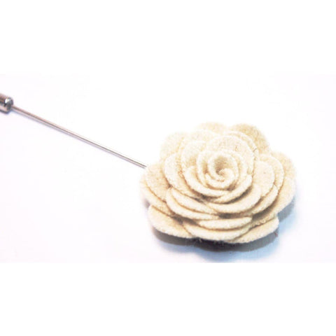 WHITE CAMELLIA LAPEL PIN (IVORY) - Elnukstyles | unique affordable men's Bow Ties, Knitted Neckties, Flower Lapel Pins, Pocket Squares, Tie Clips, Cufflinks, Brooch, Toronto