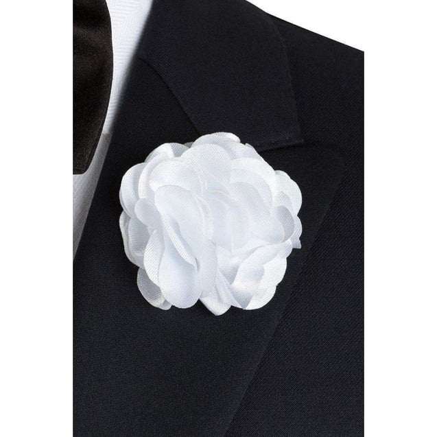 WHITE FLUFFY FLOWER LAPEL PIN - Elnukstyles | unique affordable men's Bow Ties, Knitted Neckties, Flower Lapel Pins, Pocket Squares, Tie Clips, Cufflinks, Brooch, Toronto