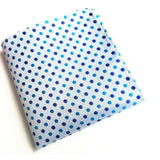 WHITE WITH BLUE POLKA DOT POCKET SQUARE - Elnukstyles | unique affordable men's Bow Ties, Knitted Neckties, Flower Lapel Pins, Pocket Squares, Tie Clips, Cufflinks, Brooch, Toronto