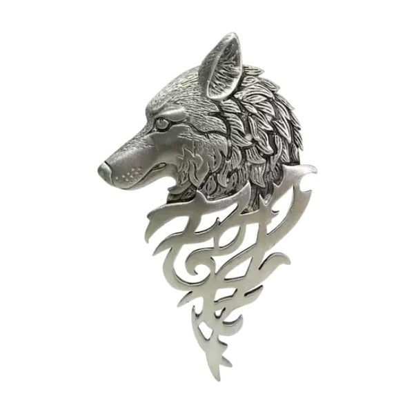 WOLF HEAD SILVER LAPEL PIN - Elnukstyles | unique affordable men's Bow Ties, Knitted Neckties, Flower Lapel Pins, Pocket Squares, Tie Clips, Cufflinks, Brooch, Toronto