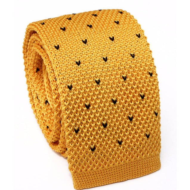 YELLOW DOT KNITTED TIE - Elnuk Styles Bows N Lapel