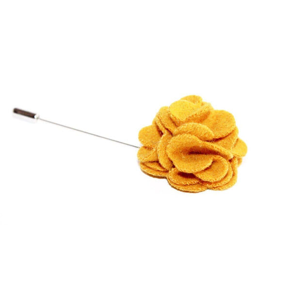 YELLOW FELT LAPEL PIN - Elnukstyles | unique affordable men's Bow Ties, Knitted Neckties, Flower Lapel Pins, Pocket Squares, Tie Clips, Cufflinks, Brooch, Toronto