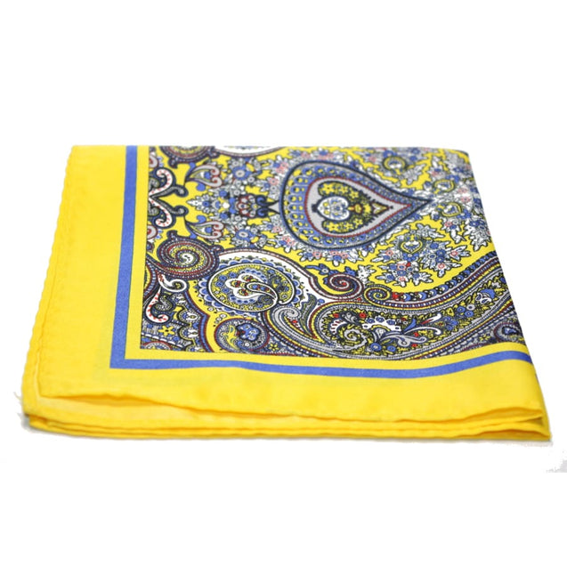 YELLOW PAISLEY POCKET HANDKERCHIEF - Elnukstyles | unique affordable men's Bow Ties, Knitted Neckties, Flower Lapel Pins, Pocket Squares, Tie Clips, Cufflinks, Brooch, Toronto