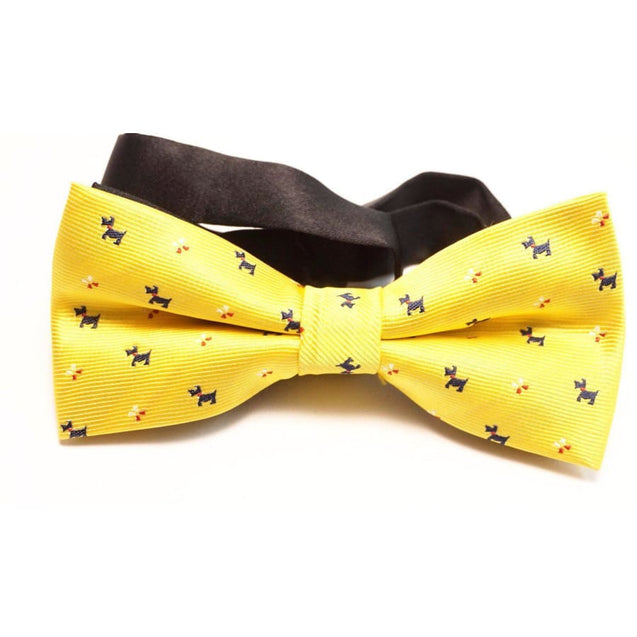 YELLOW PUPPY SATIN BOW TIE - Elnukstyles | unique affordable men's Bow Ties, Knitted Neckties, Flower Lapel Pins, Pocket Squares, Tie Clips, Cufflinks, Brooch, Toronto