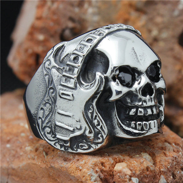 Biker Skull Guitar Ring with Stone Eyes in Stainless