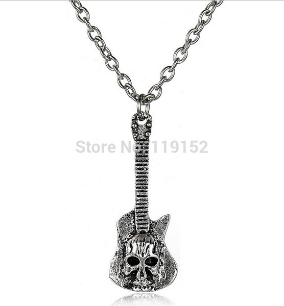 Guitar Ancient Skull Silver Plated Necklace
