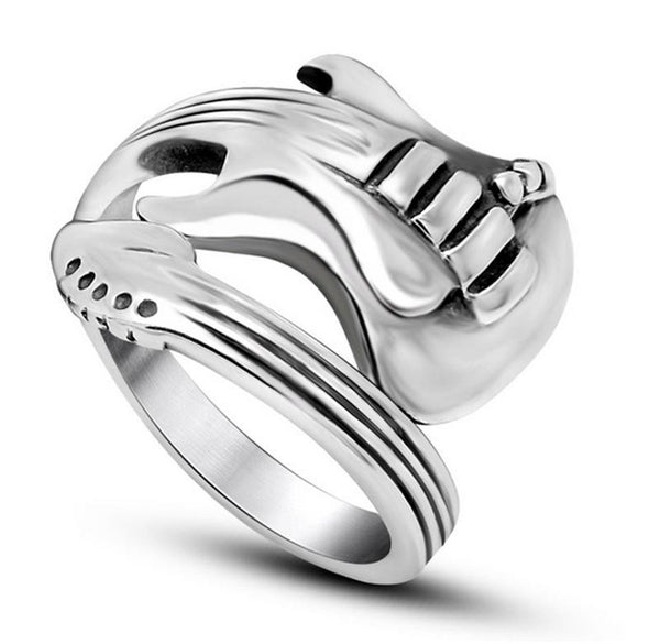 Stainless Steel Mens Punk Rock Guitar Ring for Men