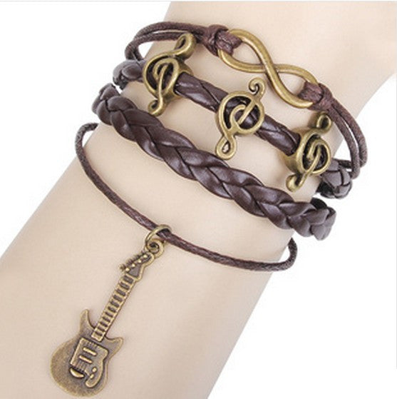 Leather Infinity Clef and Guitar Bracelet