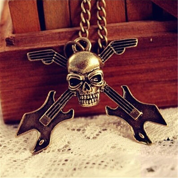 Retro Skull Guitar Instrument Long Necklace Sweater Chain