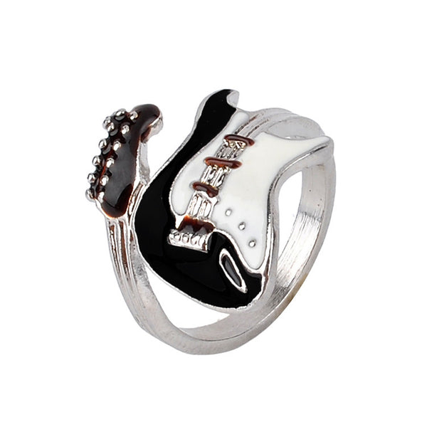 European Style Punk Style Bright Colorful Glazed Guitar Ring