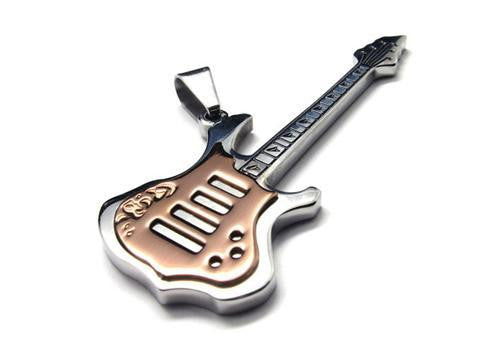 "Silver Golden Music Guitar Stainless Steel Pendant with 21"" Chain Necklace"