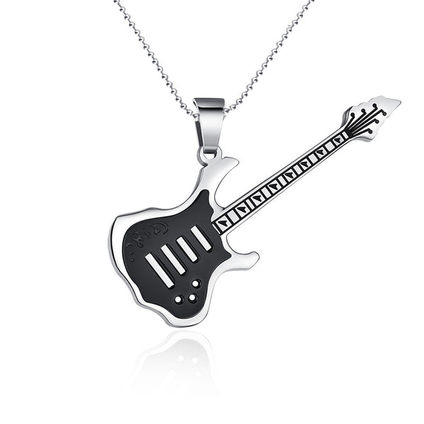 Fashion Stainless Steel Rock Guitar Necklace