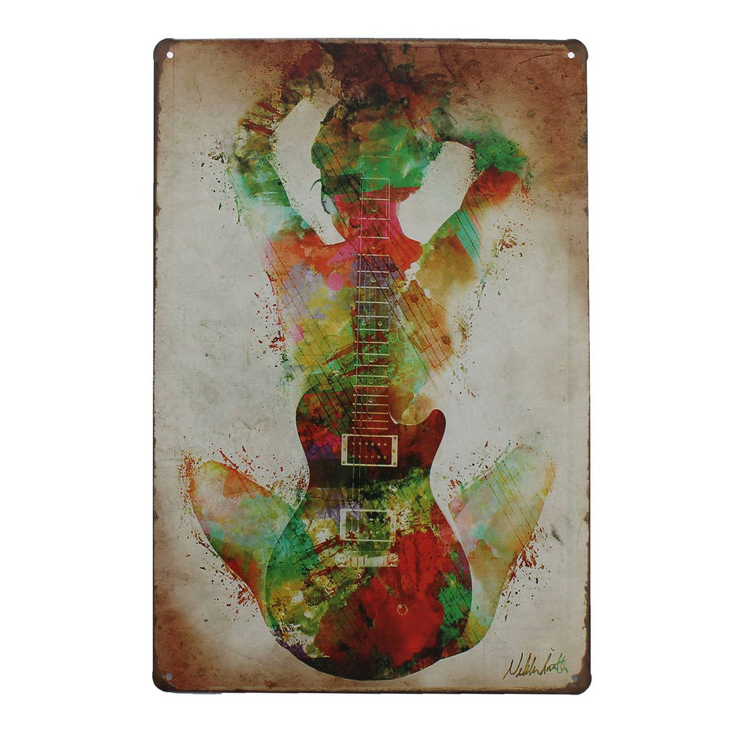 Guitar Painting Vintage Tin Art Sign Tavern Shabby Chic