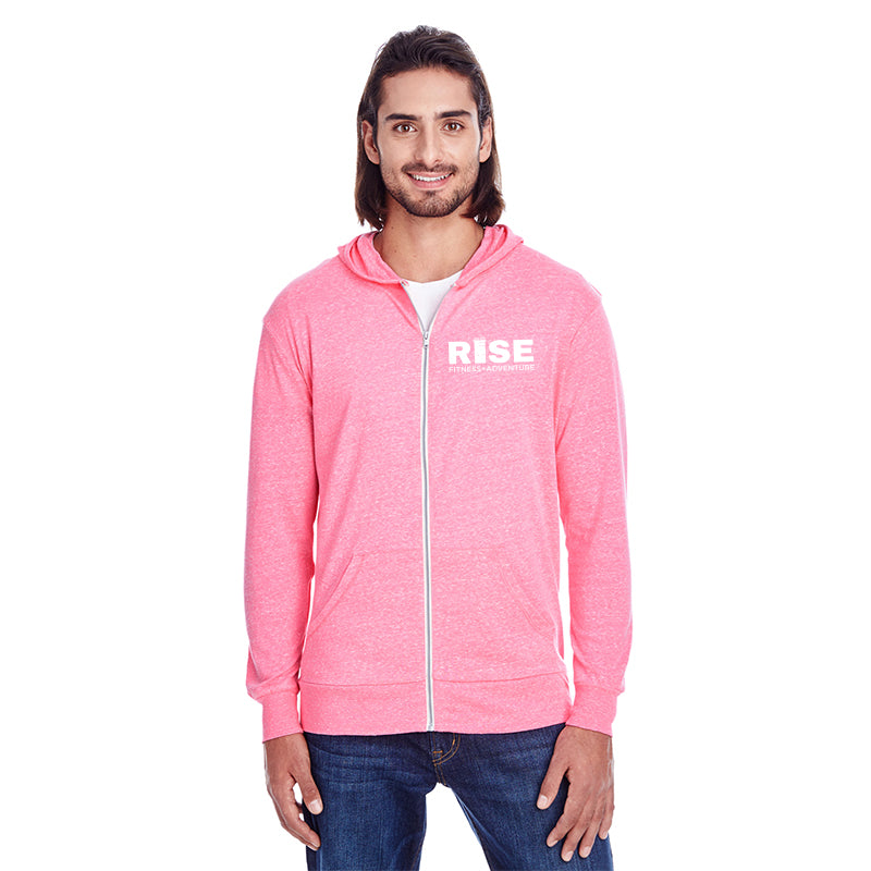 Pink Zipper Long Sleeve Light Hoodie
